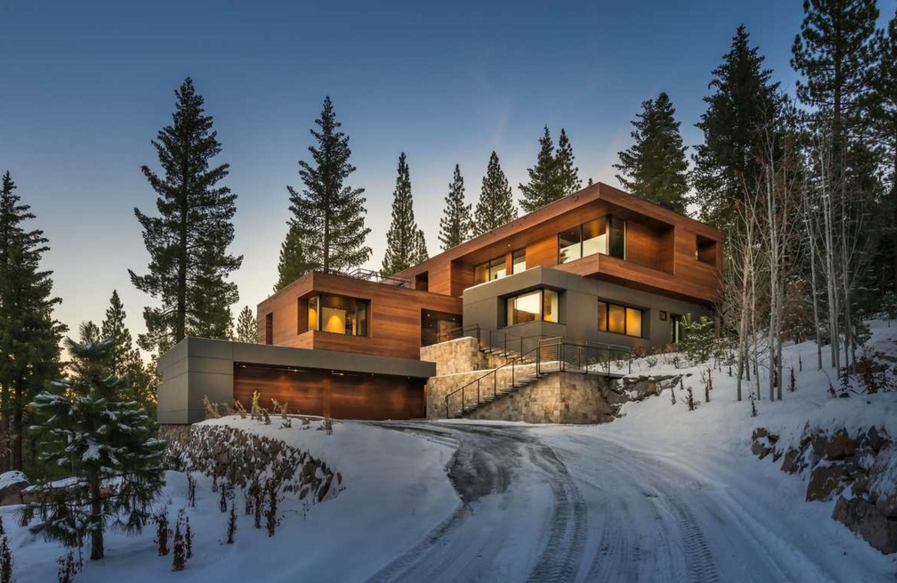 $9.4 Million Newly Built Mountaintop Contemporary Home In Truckee, CA
