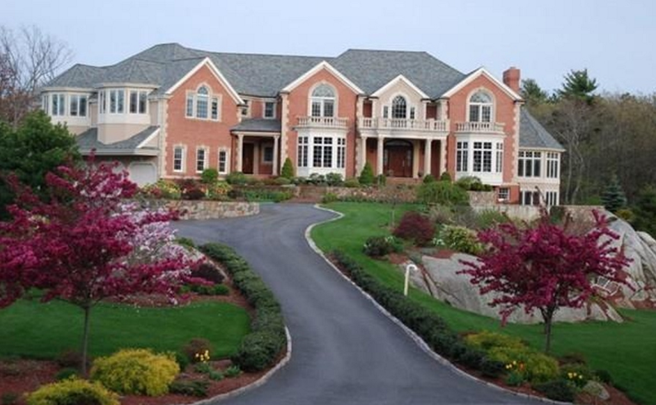 12,000 Square Foot Brick & Stucco Mansion In Cohasset, MA