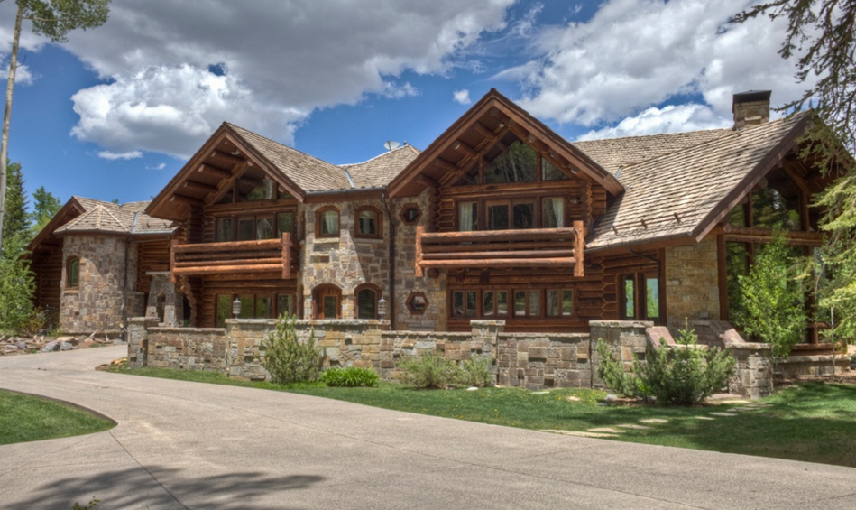 17 000 square foot log stone mansion in mountain village for Log and stone homes
