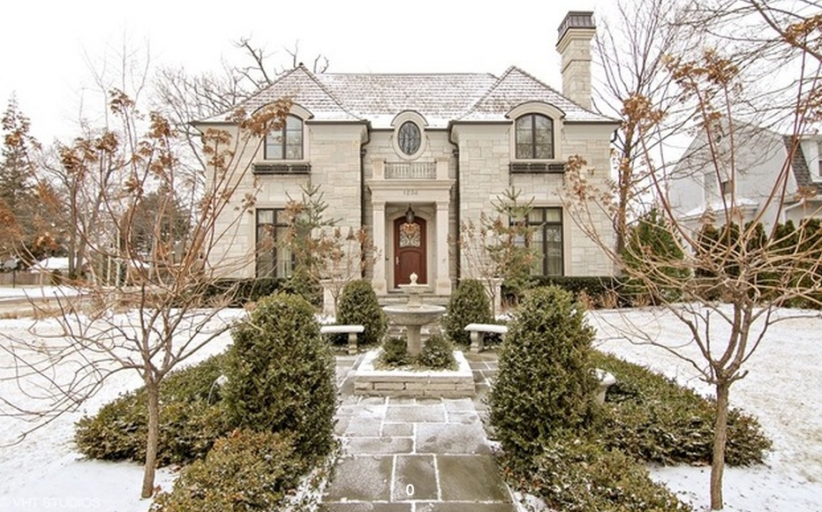 $3.4 Million Stone Mansion In Wilmette, IL With Indoor Basketball Court