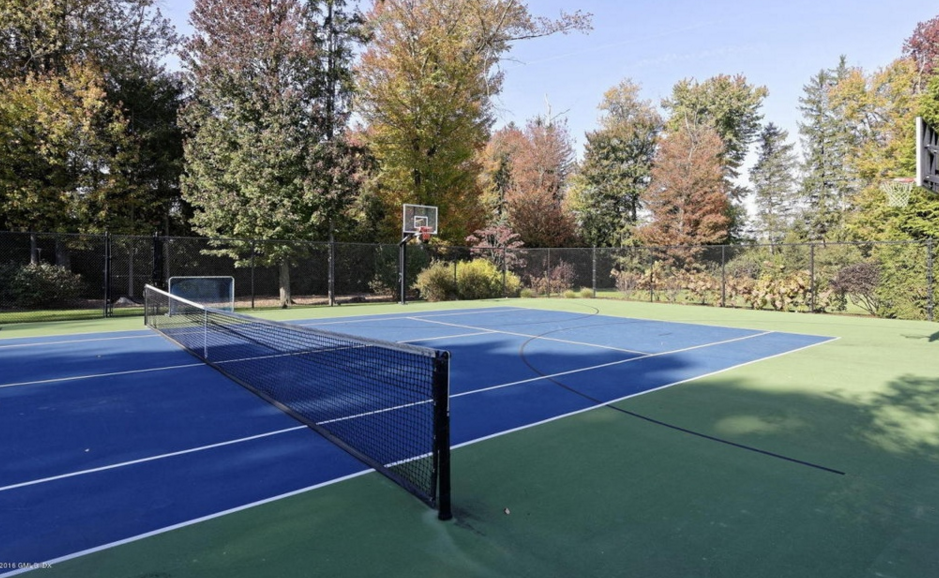 12 000 square foot shingle stone mansion in greenwich for How many square feet is a basketball court