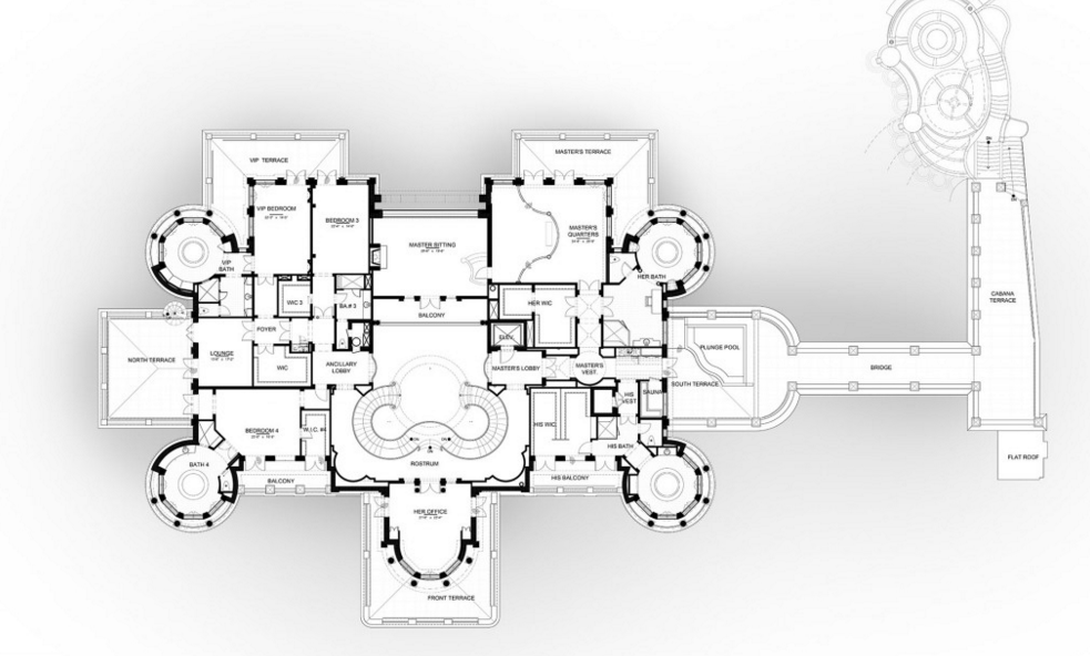Floor plans to the 60 000 square foot le palais royal for Mega homes floor plans