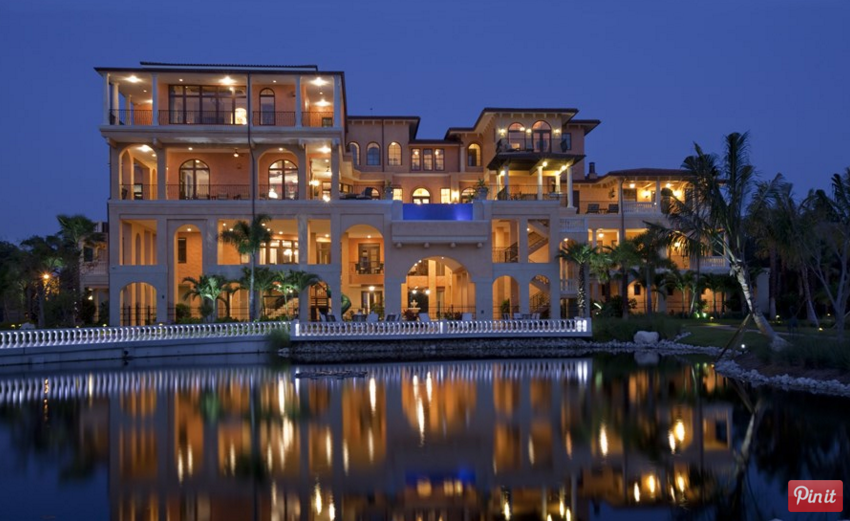 Incredible 4 Story Tuscan Inspired Waterfront Mansion In