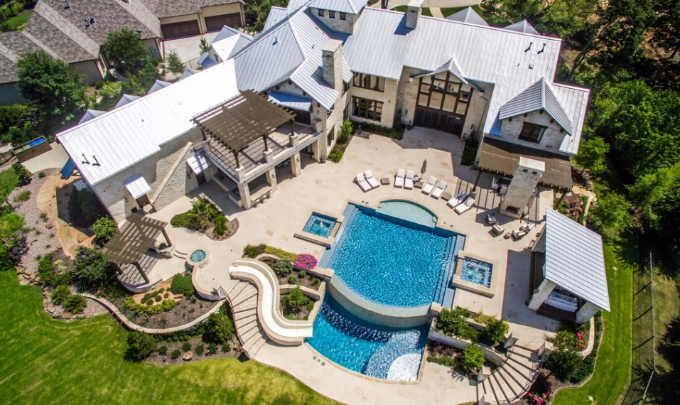 11,000 Square Foot Stone Mansion In Westlake, TX