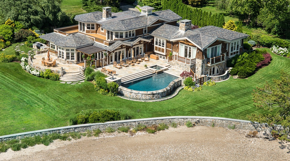 $13.75 Million Shingle & Stone Waterfront Home In Riverside, CT