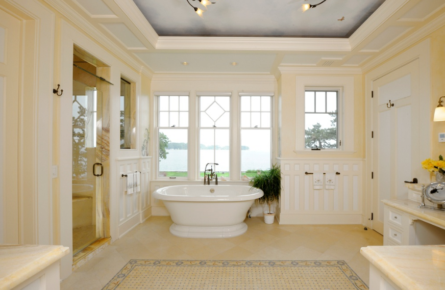 Million shingle stone waterfront home in for Bathroom 75 million