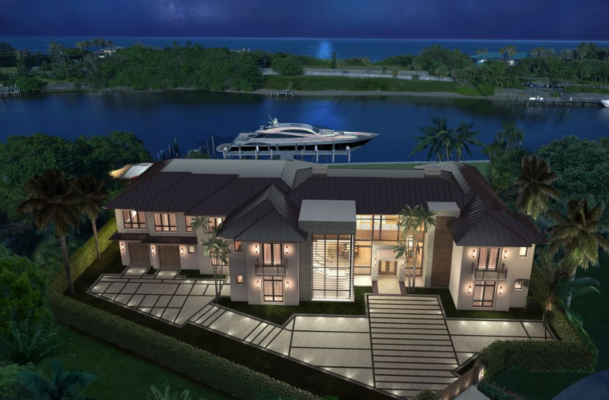 To Be Built Contemporary Waterfront Mansion In Lighthouse Point, FL