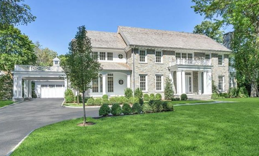 $6.45 Million Newly Built Stone & Clapboard Colonial Home In Riverside, CT