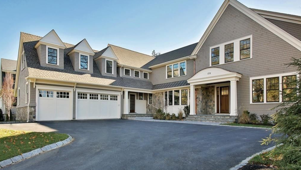 $4.35 Million Newly Built Shingle & Stone Home In Newton, MA