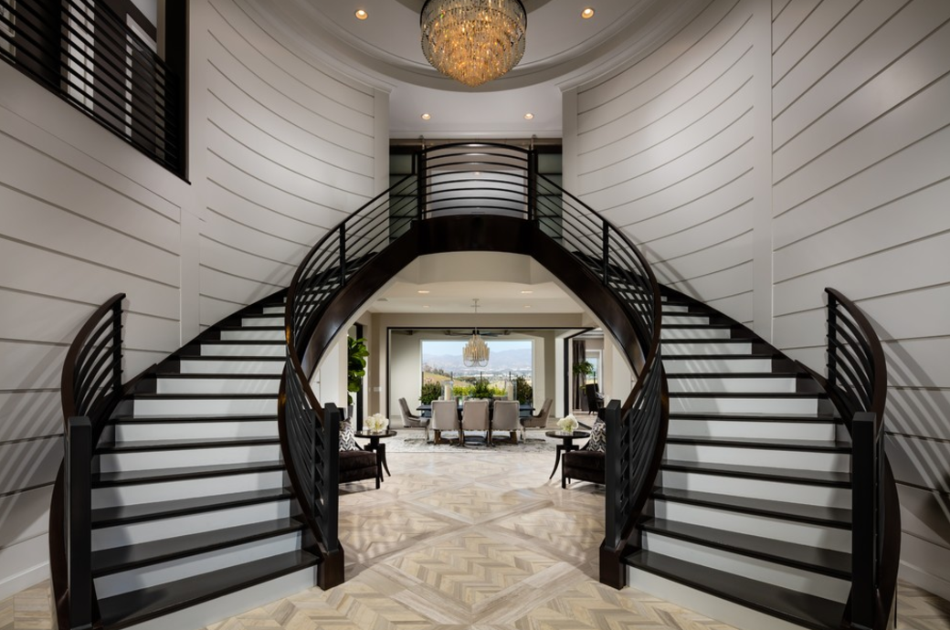 8 beautiful double staircases homes of the rich for Double curved staircase