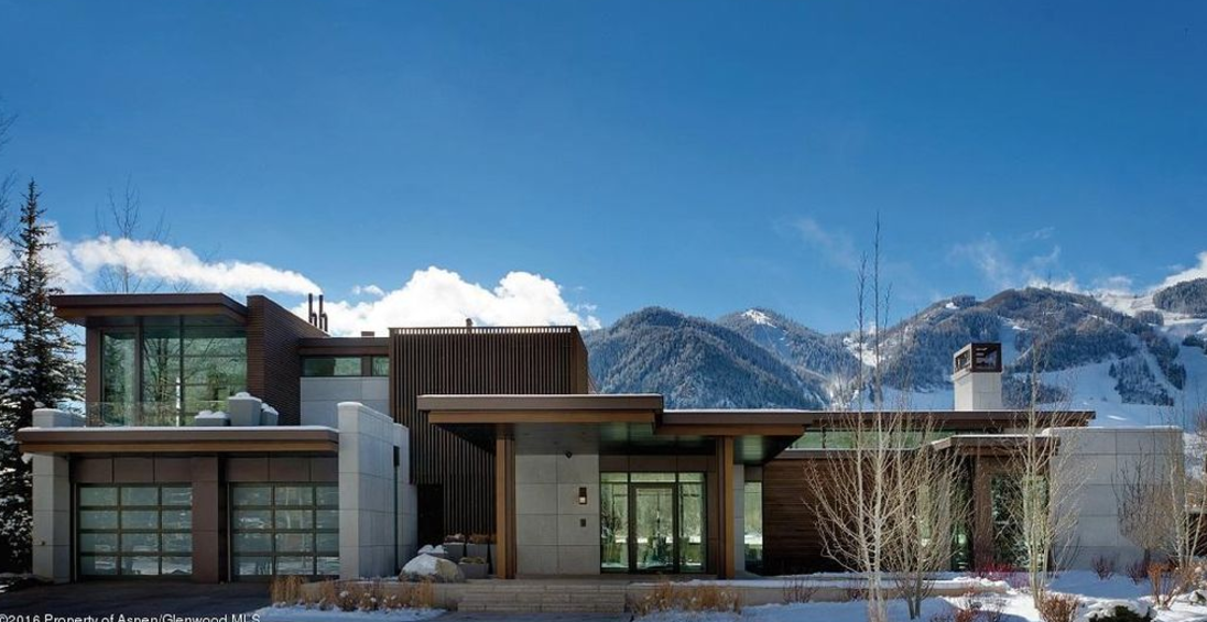 32 million newly built contemporary mansion in aspen co for Celebrity homes in aspen