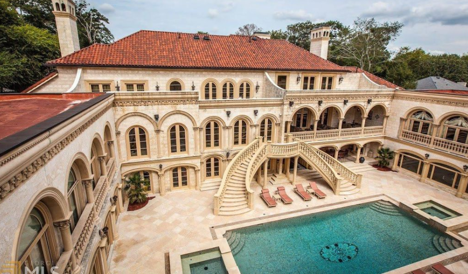 33 000 square foot stone stucco mega mansion in atlanta for Mega homes for sale