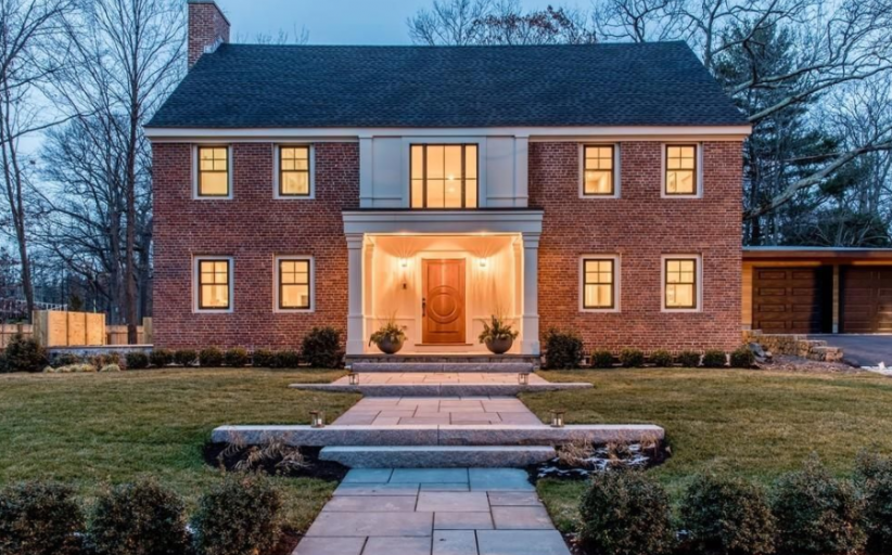 $4.2 Million Newly Built Colonial Brick Home In Chestnut Hill, MA