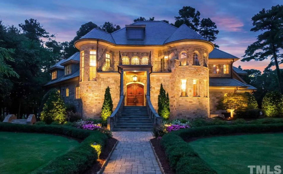 European Style Stone Mansion In Cary North Carolina