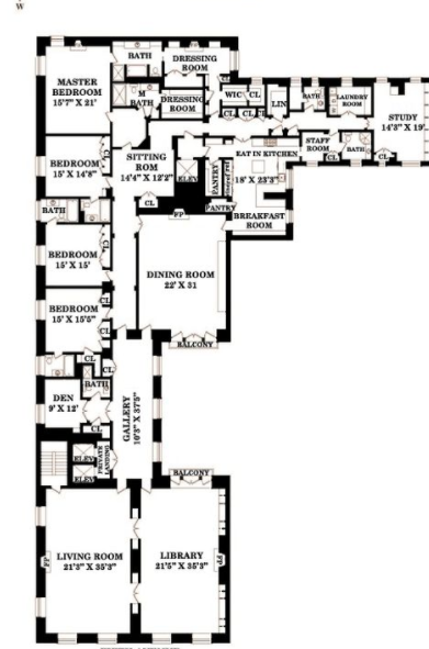 55 million full floor apartment in new york new york for Apartment floor plans new york
