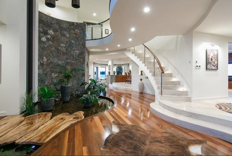 Foyer Staircase Qld : Contemporary style waterfront home in queensland