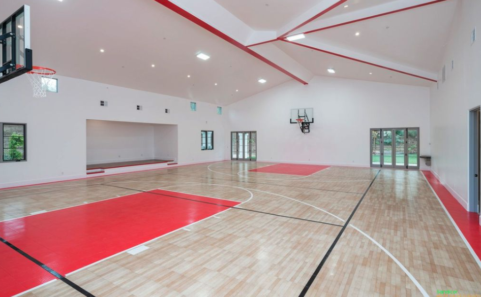 Newly built home in san diego with indoor basketball court for Built in basketball court