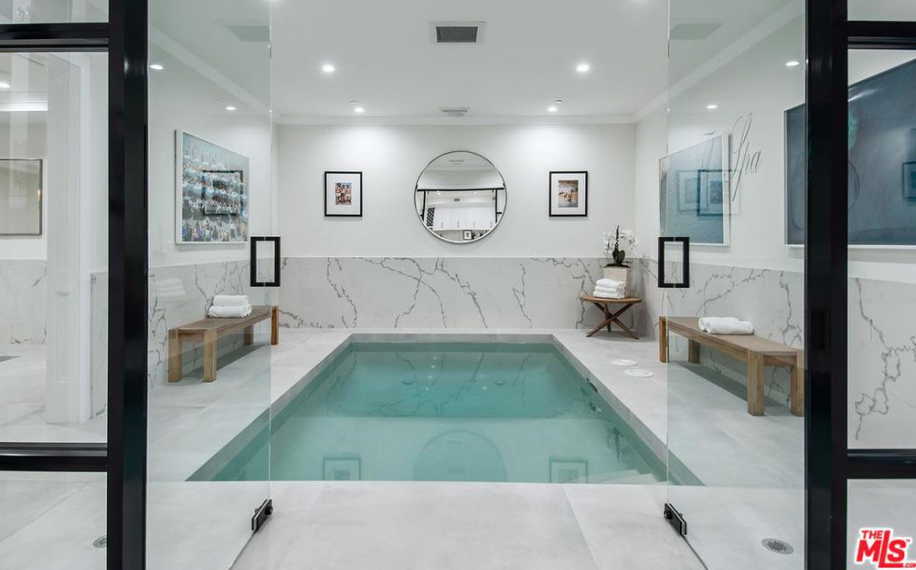 Newly built mansion in los angeles california homes of - Indoor swimming pool in los angeles ...