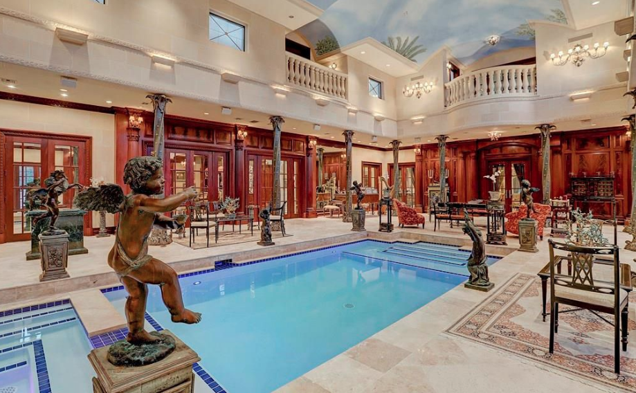 Limestone Mansion In Houston With 2 Story Indoor Pool