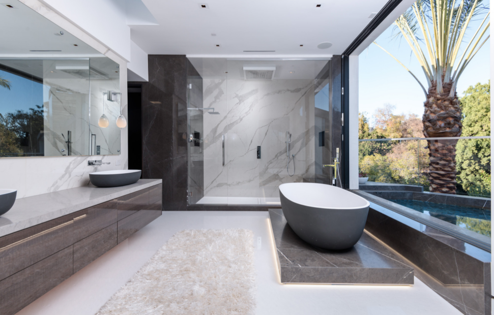 Modern mansion master bathroom Gorgeous Master Bathroom Homes Of The Rich 45 Million Newly Built Modern Mansion In Beverly Hills California